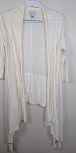 Chico's Open Front Wool Modal Cardi Cream Sz 2 L